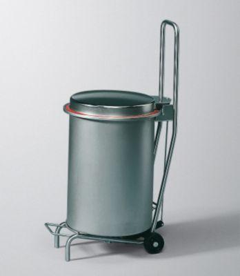 Edelstahl-Abfallrolli BUGGY mit Fahrgestell - Geruchsverschluss-Deckel, Volumen 40 l