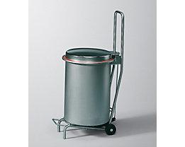 Edelstahl-Abfallrolli BUGGY mit Fahrgestell - Geruchsverschluss-Deckel