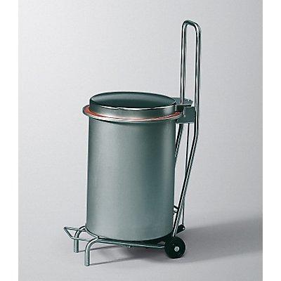 Rieber Edelstahl-Abfallrolli BUGGY mit Fahrgestell - Geruchsverschluss-Deckel, Volumen 40 l