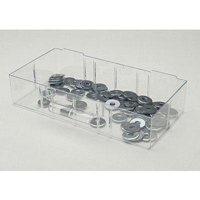 Schublade glasklar, Polystyrol - HxBxT 63 x 280 x 157 mm - VE 4 Stk