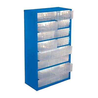 Schubladenmagazin - HxB 551 x 306 mm, 12 Schubladen - lichtblau