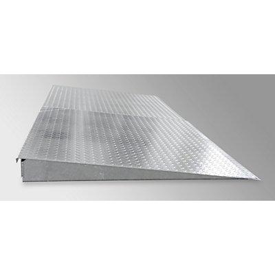 Auffahrrampe für Stahl-Flachwanne, verzinkt - Tiefe 1150 mm, Radlast 500 kg