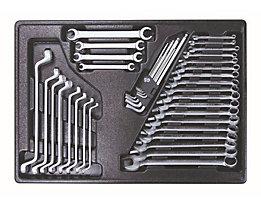 Werkzeugsortiment in Kunststoffeinlage - Ring-/Gabelschlüssel-Satz, 39-teilig