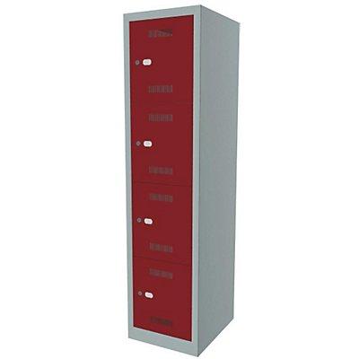 Bisley MonoBloc™ Schließfachschrank - 1 Abteil Breite 400 mm, 4 Fächer