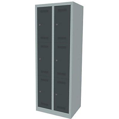 Bisley MonoBloc™ Schließfachschrank - 2 Abteile Breite 300 mm, 6 Fächer