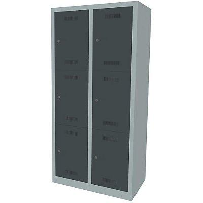 Bisley MonoBloc™ Schließfachschrank - 2 Abteile Breite 400 mm, 6 Fächer
