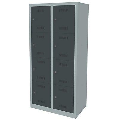 Bisley MonoBloc™ Schließfachschrank - 2 Abteile Breite 400 mm, 8 Fächer