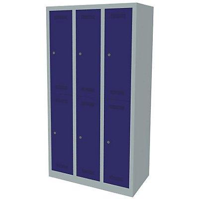 Bisley MonoBloc™ Garderobenschrank - 3 Abteile Breite 300 mm, 6 Fächer