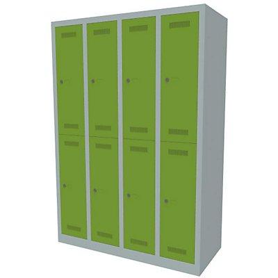 Bisley MonoBloc™ Garderobenschrank - 4 Abteile Breite 300 mm, 8 Fächer