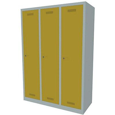 Bisley MonoBloc™ Garderobenschrank - 3 Abteile Breite 400 mm, je 1 Fach