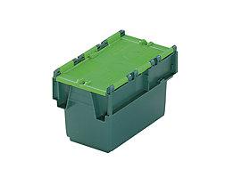 Mehrweg-Stapelbehälter mit Klappdeckel - Inhalt 6 l, LxBxH 300 x 200 x 200 mm - grün