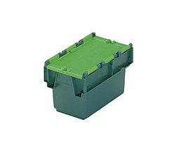 Mehrweg-Stapelbehälter mit Klappdeckel - Inhalt 6 l, LxBxH 300 x 200 x 200 mm - grün, ab 10 Stück