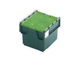 Mehrweg-Stapelbehälter mit Klappdeckel - Inhalt 20 Liter, Außenmaße LxBxH 400 x 300 x 252 mm - grün