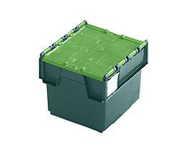 Mehrweg-Stapelbehälter mit Klappdeckel - Inhalt 20 Liter, Außenmaße LxBxH 400 x 300 x 252 mm - grün, ab 10 Stück