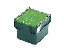 Mehrweg-Stapelbehälter mit Klappdeckel - Inhalt 25 Liter, Außenmaße LxBxH 400 x 300 x 320 mm - grün