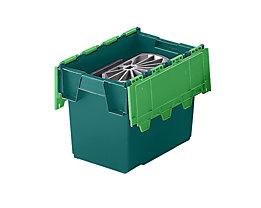 Mehrweg-Stapelbehälter mit Klappdeckel - Inhalt 25 Liter, Außenmaße LxBxH 400 x 300 x 320 mm - grün, ab 10 Stück