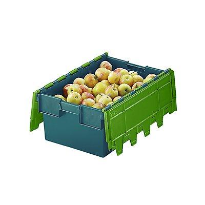Mehrweg-Stapelbehälter mit Klappdeckel - Inhalt 40 Liter, Außenmaße LxBxH 600 x 400 x 250 mm
