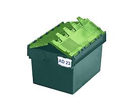 Mehrweg-Stapelbehälter mit Klappdeckel - Inhalt 54 Liter, Außenmaße LxBxH 600 x 400 x 320 mm - grün