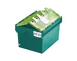 Mehrweg-Stapelbehälter mit Klappdeckel - Inhalt 54 Liter, Außenmaße LxBxH 600 x 400 x 320 mm - grün, ab 10 Stück