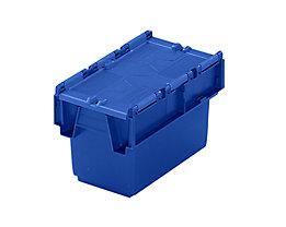Mehrweg-Stapelbehälter mit Klappdeckel - Inhalt 6 l, LxBxH 300 x 200 x 200 mm - blau