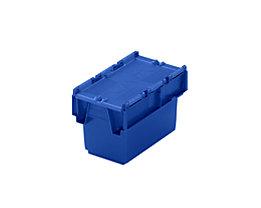 Mehrweg-Stapelbehälter mit Klappdeckel - Inhalt 6 l, LxBxH 300 x 200 x 200 mm - blau, ab 10 Stück