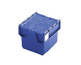 Mehrweg-Stapelbehälter mit Klappdeckel - Inhalt 20 Liter, Außenmaße LxBxH 400 x 300 x 252 mm - blau