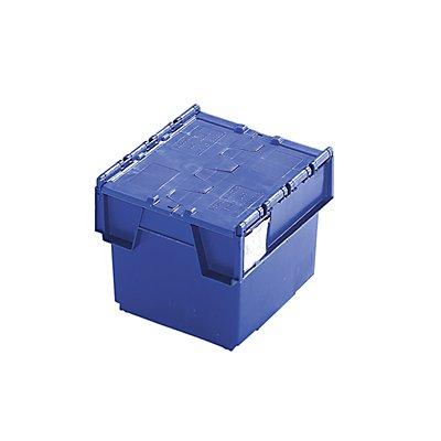 Mehrweg-Stapelbehälter mit Klappdeckel - Inhalt 20 Liter, Außenmaße LxBxH 400 x 300 x 252 mm