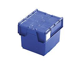 Mehrweg-Stapelbehälter mit Klappdeckel - Inhalt 20 Liter, Außenmaße LxBxH 400 x 300 x 252 mm - blau, ab 10 Stück