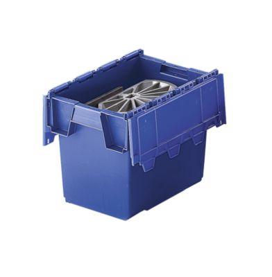 Mehrweg-Stapelbehälter mit Klappdeckel - Inhalt 25 Liter, Außenmaße LxBxH 400 x 300 x 320 mm