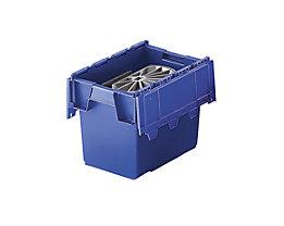Mehrweg-Stapelbehälter mit Klappdeckel - Inhalt 25 Liter, Außenmaße LxBxH 400 x 300 x 320 mm - blau