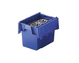 Mehrweg-Stapelbehälter mit Klappdeckel - Inhalt 25 Liter, Außenmaße LxBxH 400 x 300 x 320 mm - blau, ab 10 Stück