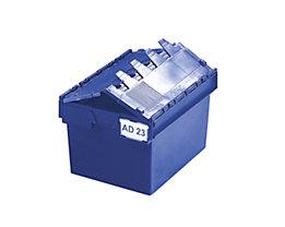 Mehrweg-Stapelbehälter mit Klappdeckel - Inhalt 54 Liter, Außenmaße LxBxH 600 x 400 x 320 mm - blau