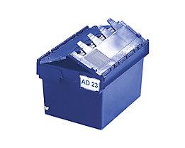Mehrweg-Stapelbehälter mit Klappdeckel - Inhalt 54 Liter, Außenmaße LxBxH 600 x 400 x 320 mm - blau, ab 10 Stück