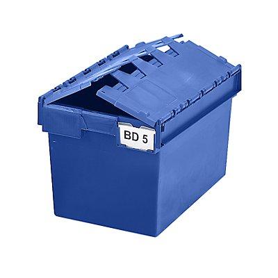 Mehrweg-Stapelbehälter mit Klappdeckel - Inhalt 64 Liter, Außenmaße LxBxH 600 x 400 x 365 mm