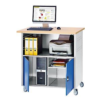 RAU PC-Tisch - mit Mitteltrennwand, mit Fahrsatz - anthrazit-metallic / enzianblau RAL 5010
