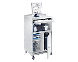 QUIPO PC Stehpult, fahrbar - HxBxT 1170 x 690 x 590 mm - lichtgrau RAL 7035