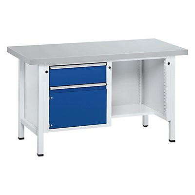 ANKE Werkbank, stabil - 1 Schublade, Tür 360 mm, ½ Ablageboden
