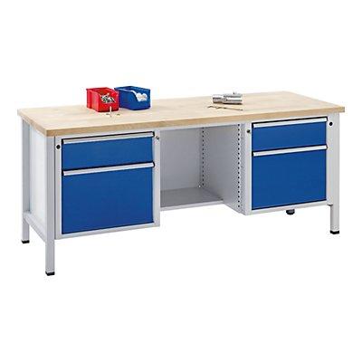 ANKE Werkbank, stabil - Schubladen 2 x 180 mm, 2 x 360 mm, ½ Ablageboden