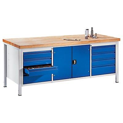RAU Werkbank, stabil - 8 Schubladen Größe L, 1 Werkzeugschrank