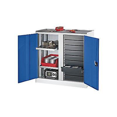 QUIPO Werkzeug- und Beistellschrank - 9 Schubladen, 2 Fachböden, 1 Mitteltrennwand