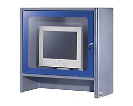 RAU Monitorgehäuse mit integriertem Aktivlüfter - HxBxT 710 x 710 x 300 mm - anthrazit-metallic / enzianblau