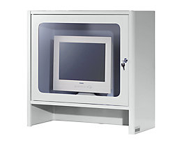 RAU Monitorgehäuse mit integriertem Aktivlüfter - HxBxT 710 x 710 x 300 mm - lichtgrau RAL 7035