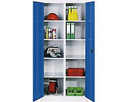 CP Materialschrank aus Stahlblech - 8 Fachböden - HxBxT 1950 x 1200 x 500 mm, Tür enzianblau, Korpus lichtgrau