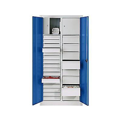 CP Materialschrank aus Stahlblech - 2 Fachböden, 24 Schubladen, 2 Wertfächer