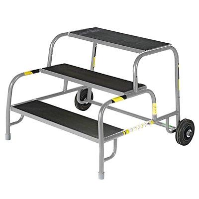 Sicherheits-Montagetritt mit Gummiprofil-Stufen - 3 Stufen, Plattformhöhe 600 mm