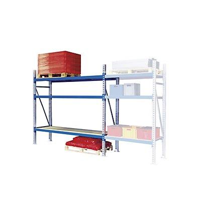 Weitspann-Großfachregal - Feldlast max. 4000 kg, HxBxT 2000 x 2700 x 800 mm - Grundfeld, rot RAL 3000