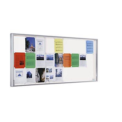 office akktiv Schaukasten, Alu-Rahmen, Schiebetüren - 27 x DIN A4, BxHxT 1970 x 970 x 50 mm