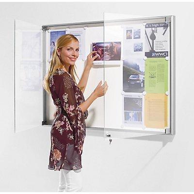 OFFICE AKKTIV Schaukasten, Alu-Rahmen, Drehtüren - Kapazität 21 DIN A4-Blatt, HxBxT 970 x 1540 x 50 mm
