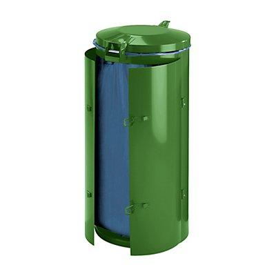 Collecteur de déchets en tôle d'acier pour sac de 120 l - avec porte à 2 battants