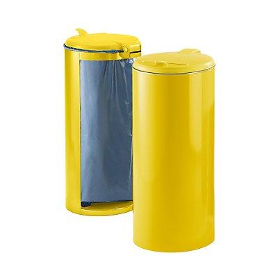 Collecteur de déchets en tôle d'acier pour sac de 120 l - avec tôle sur un côté